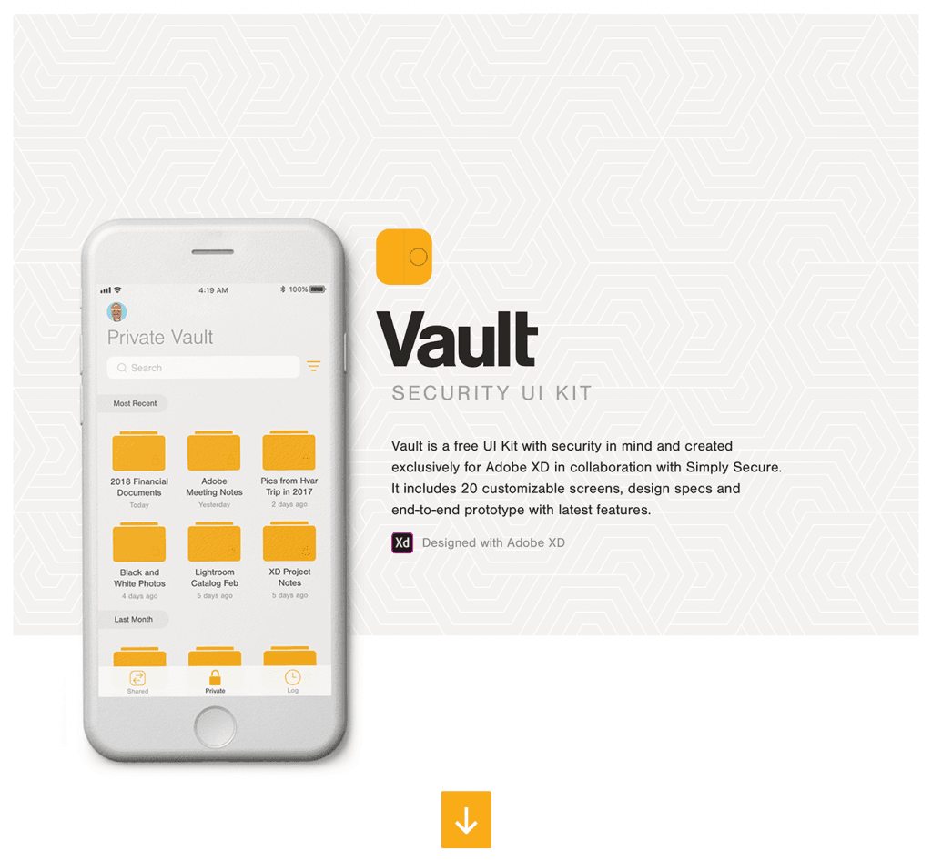 Vault2 - free UI Kit for XD